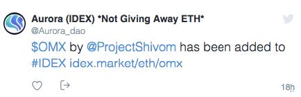 Токен OMX проекта Shivom вышел на биржу IDEX