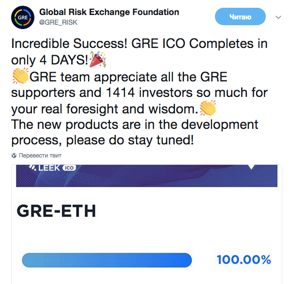 ICO Global Risk Exchange Foundation (GRE) успешно завершено