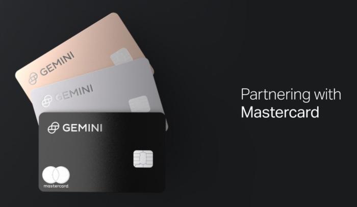 Gemini в партнерстве с Mastercard запускает кредитную карту с кэшбэком до 3% в криптовалюте
